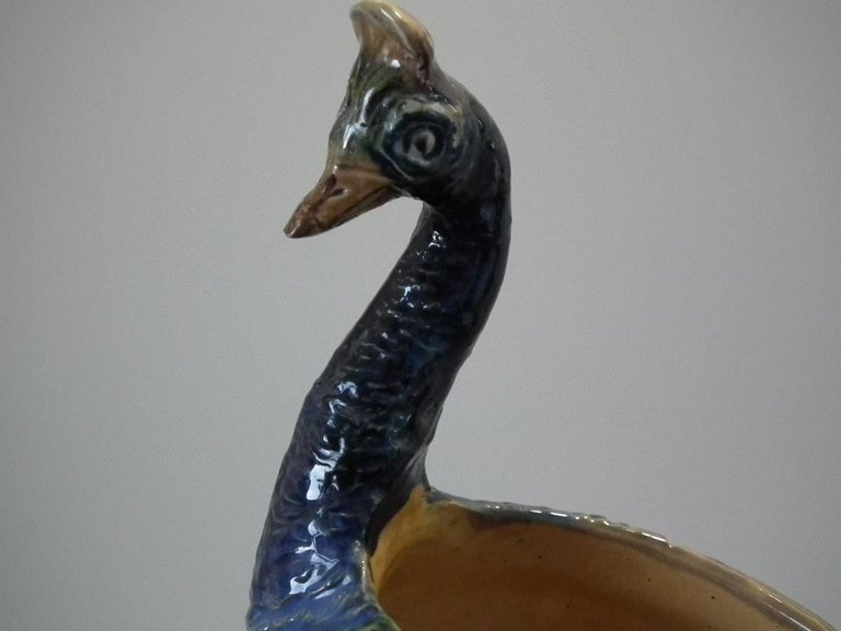 Wilhelm Schiller & Sons Majolica Peacock Vase For Sale 1