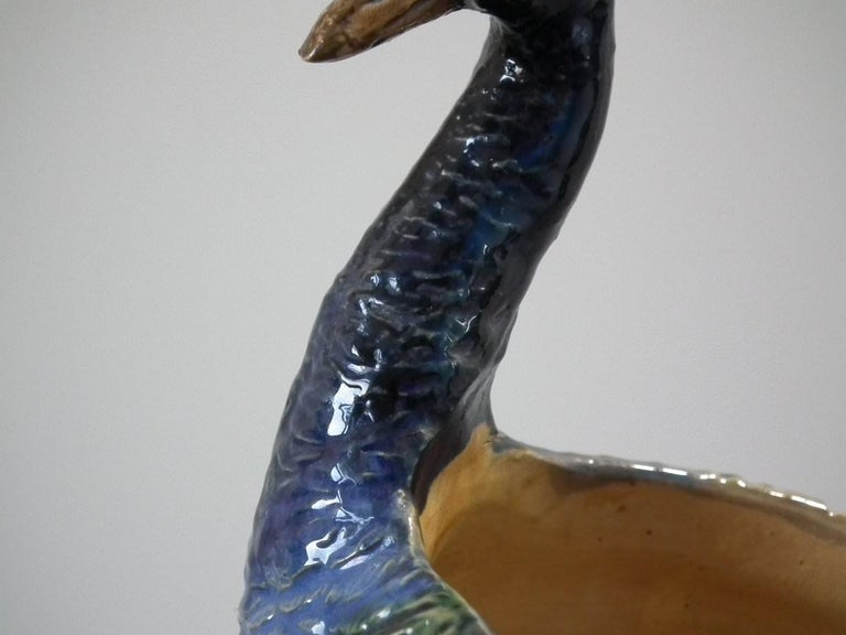 Wilhelm Schiller & Sons Majolica Peacock Vase For Sale 2