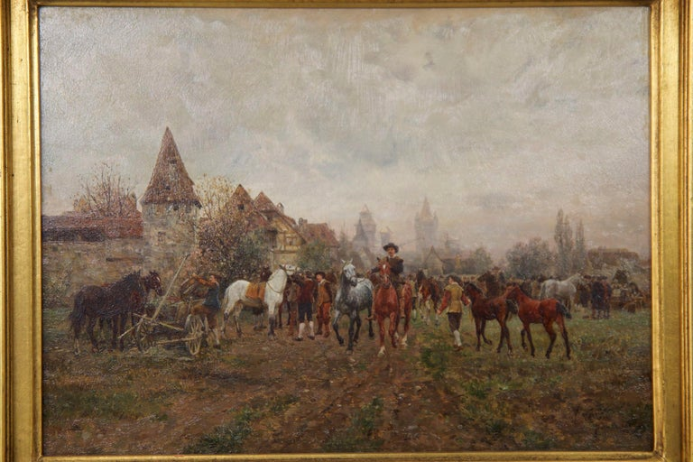 Typical of work by Velten, this small oil panel is tightly and precisely painted with such an exquisite level of detailing; it is a highly complex scene with nearly a dozen figures and nearly as many horses in the fore and mid-grounds. His paintings