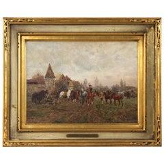 "Wilhelm Velten 'Russian/German, 1847-1929' Antique Oil Painting ""The Horse Fair"""