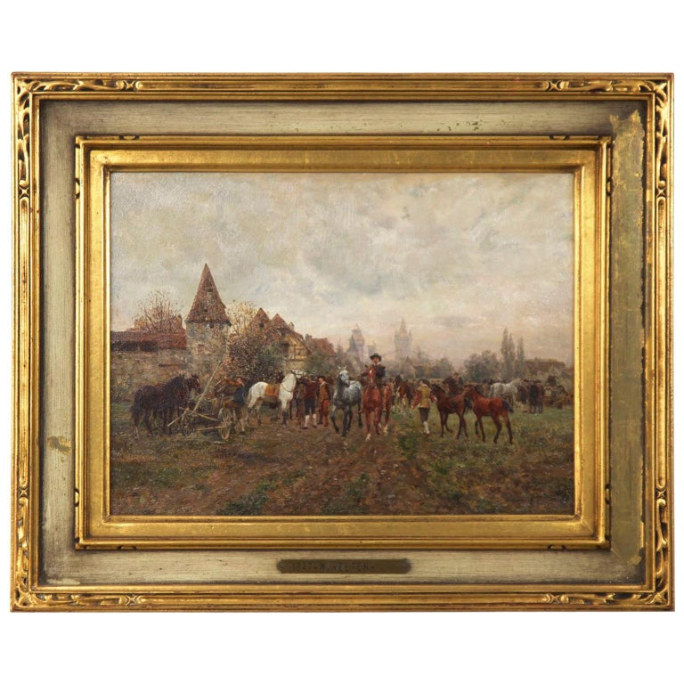 "Wilhelm Velten 'Russian/German, 1847-1929' Antique Oil Painting ""The Horse Fair"" For Sale"