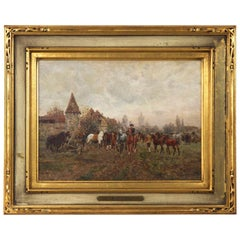 "Wilhelm Velten 'Russian/German, 1847-1929' Antique Oil Painting ""The Horse Fair"""