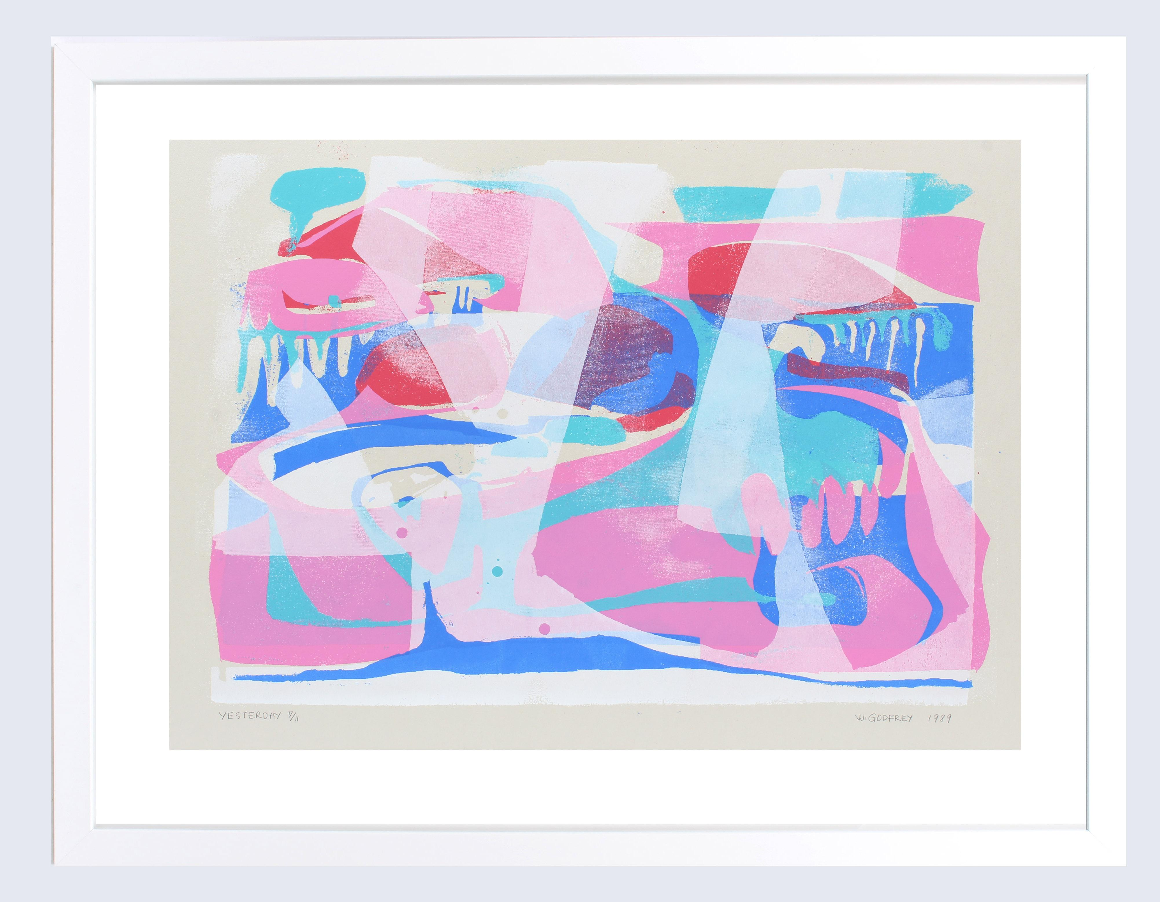 "Abstract Print African American Female Artist Wilhelmina Godfrey ""Yesterday"""