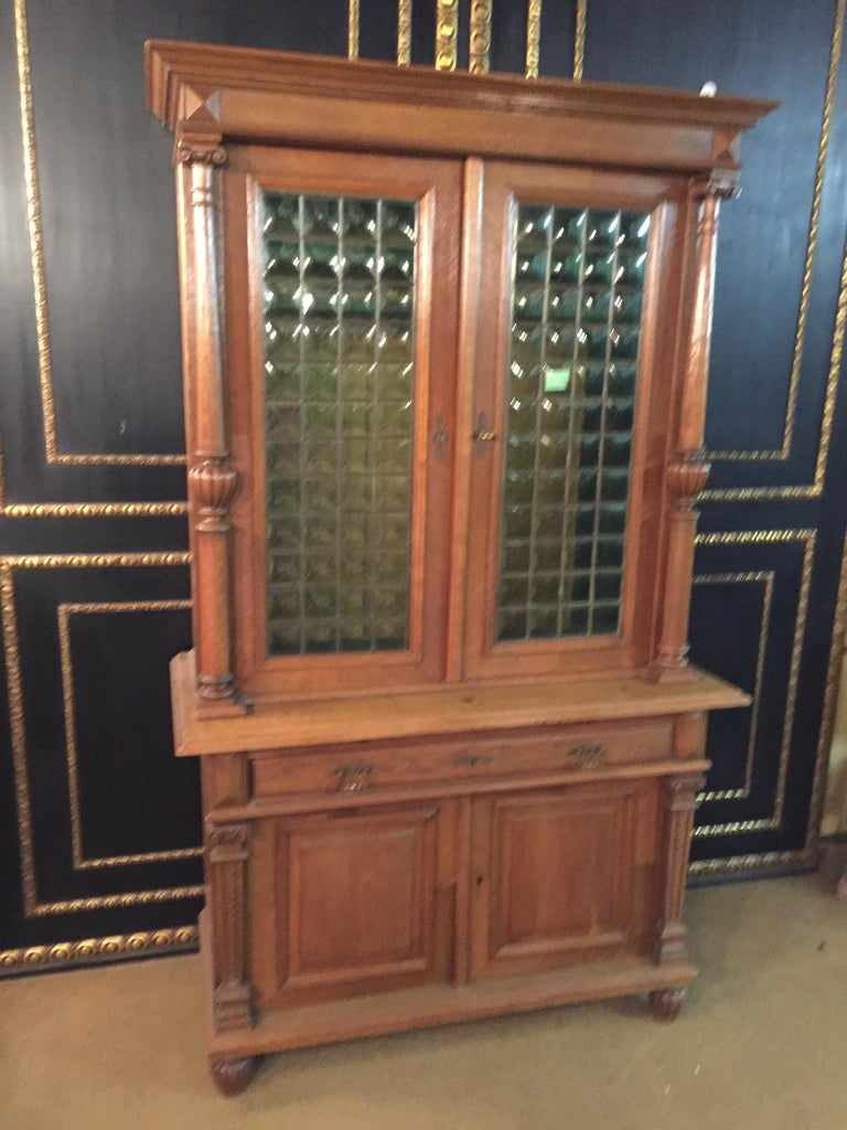Wilhelminian Style Cupboard with Small Green Glass, circa 1880 For Sale 16