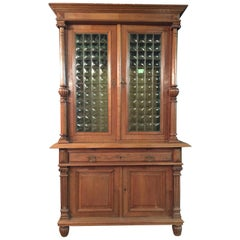 Wilhelminian Style Cupboard with Small Green Glass, circa 1880
