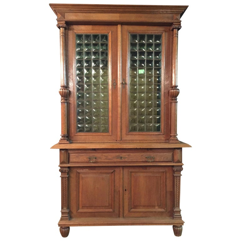 Wilhelminian Style Cupboard with Small Green Glass, circa 1880 For Sale