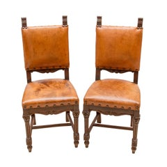 Wilhelminian Walnut Leather Chairs, a Set of Two