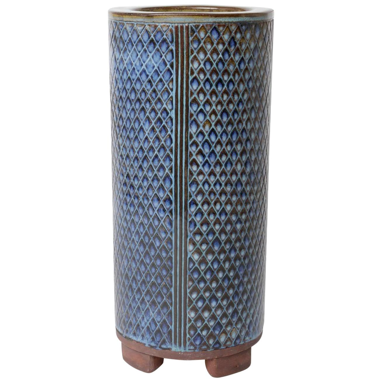 Wilhem Kage for Gustavsberg Large Swedish Farsta Stoneware Vase, 1950
