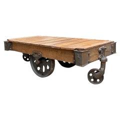 Wilkesboro North Carolina Industrial Iron and Wood Mill Rolling Cart