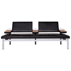 Wilkhahn Cana 890 Designer Leather Sofa Black Two-Seat Function Couch