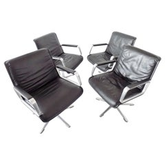 Wilkhahn Delta 2000 by Delta Group Set of 4 Chairs, Black Leather, Midcentury