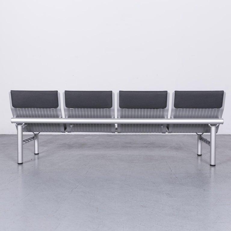 Wilkhahn Tubis Designer Fabric Sofa Four-Seat Bank Anthracite 6