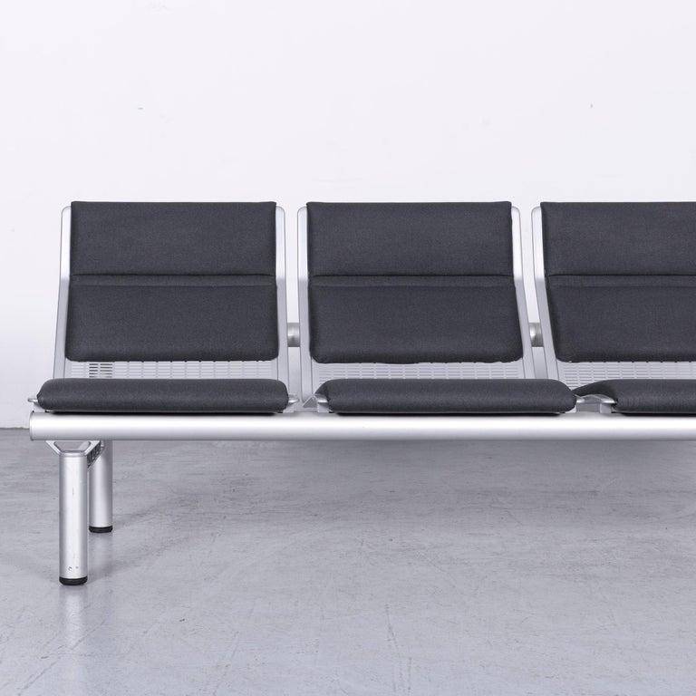 German Wilkhahn Tubis Designer Fabric Sofa Four-Seat Bank Anthracite