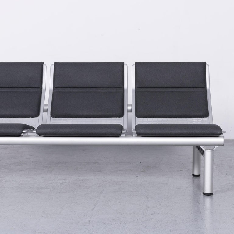 Wilkhahn Tubis Designer Fabric Sofa Four-Seat Bank Anthracite In Good Condition In Cologne, DE