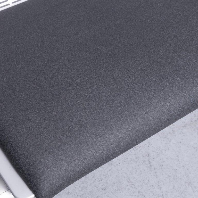 Contemporary Wilkhahn Tubis Designer Fabric Sofa Four-Seat Bank Anthracite