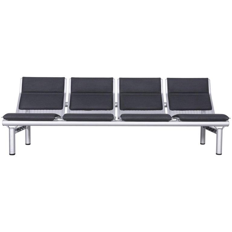 Wilkhahn Tubis Designer Fabric Sofa Four-Seat Bank Anthracite