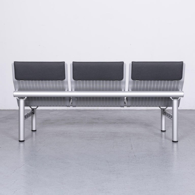 Wilkhahn Tubis Designer Fabric Sofa Set Three-Seat Bank Anthracit 7
