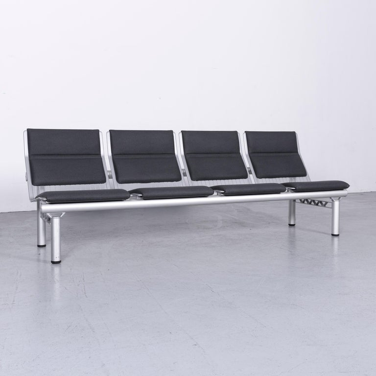 German Wilkhahn Tubis Designer Fabric Sofa Set Three-Seat Bank Anthracit