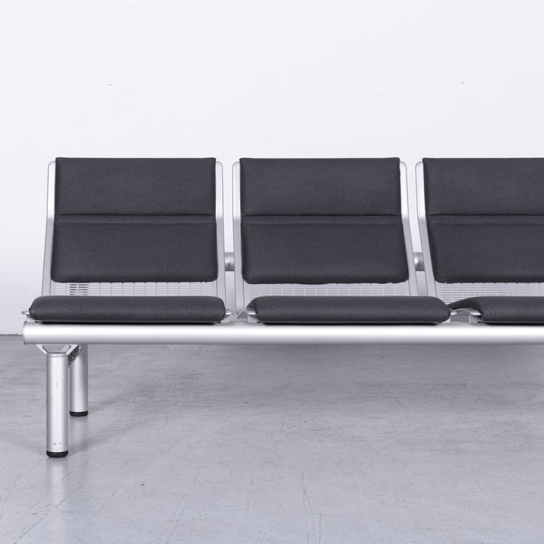 Wilkhahn Tubis Designer Fabric Sofa Set Three-Seat Bank Anthracit In Good Condition In Cologne, DE