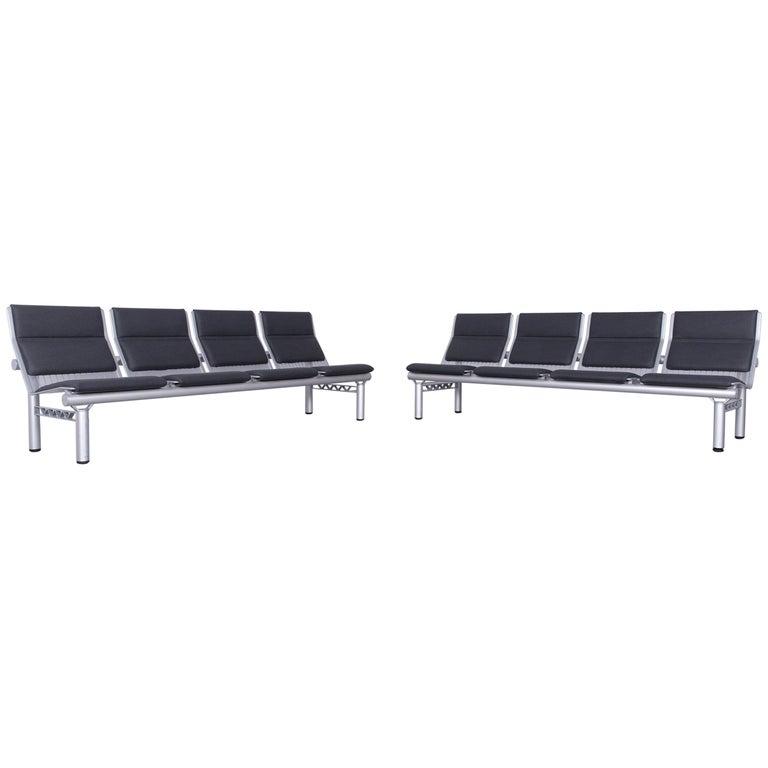 Wilkhahn Tubis Designer Fabric Sofa Set Three-Seat Bank Anthracit