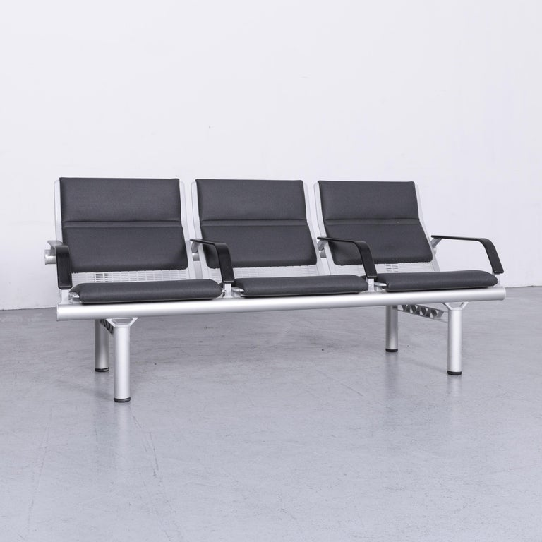 German Wilkhahn Tubis Designer Fabric Sofa Set Three-Seat Bank Anthracite