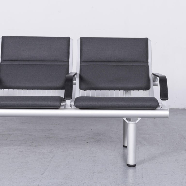 Contemporary Wilkhahn Tubis Designer Fabric Sofa Set Three-Seat Bank Anthracite