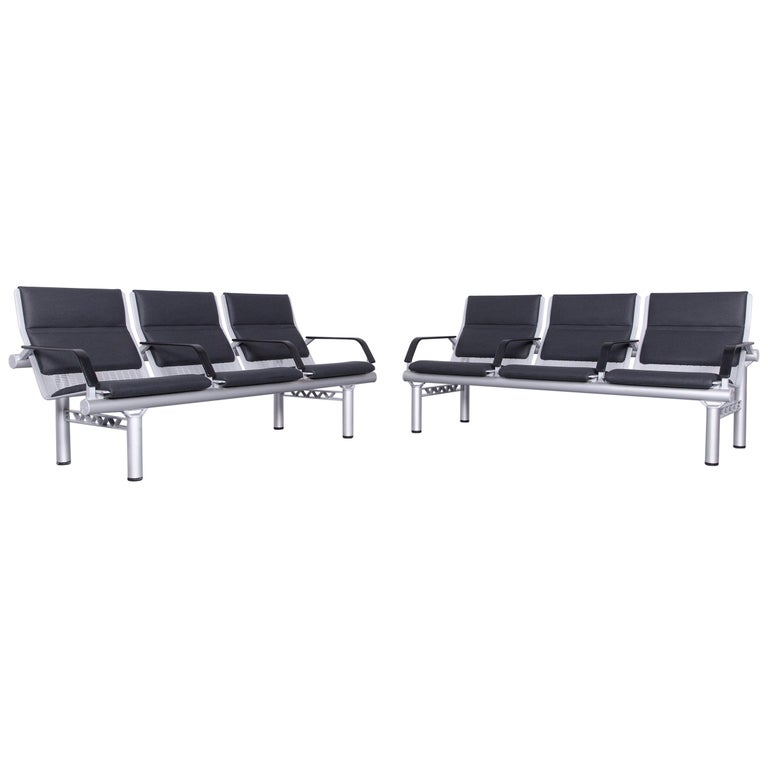 Wilkhahn Tubis Designer Fabric Sofa Set Three-Seat Bank Anthracite