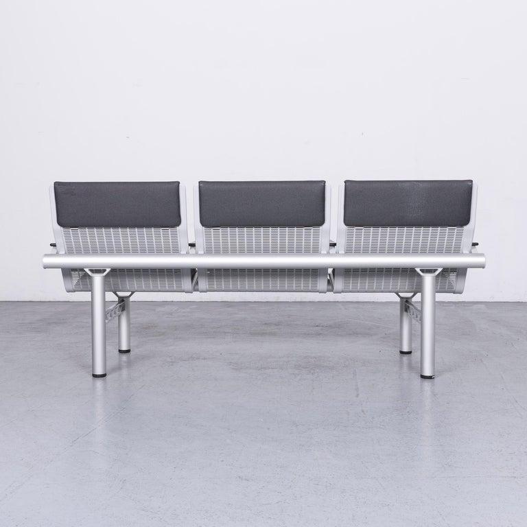 Wilkhahn Tubis Designer Fabric Sofa Three-Seat Bank Anthracite 7