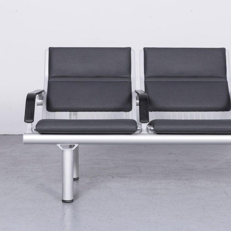 German Wilkhahn Tubis Designer Fabric Sofa Three-Seat Bank Anthracite