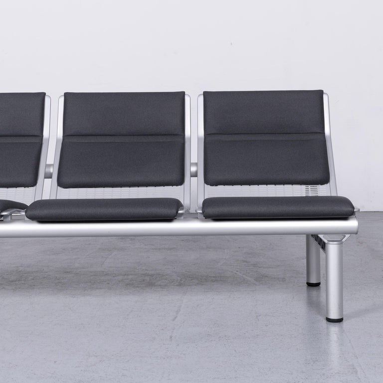 Wilkhahn Tubis Designer Fabric Sofa Three-Seat Bank Anthracite In Good Condition In Cologne, DE