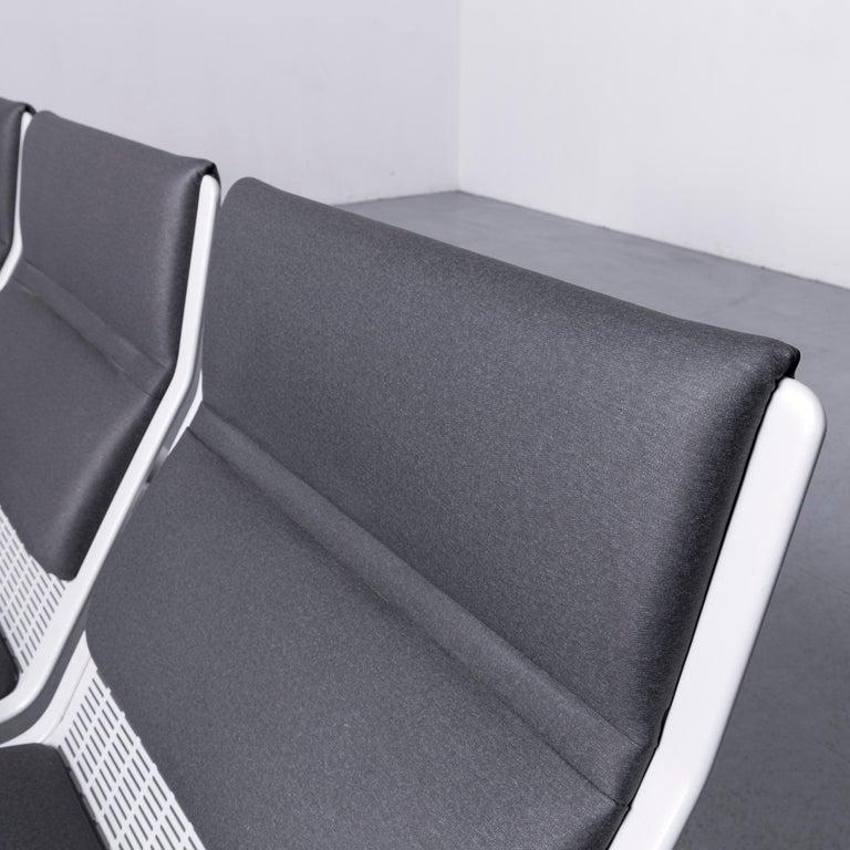 Contemporary Wilkhahn Tubis Designer Fabric Sofa Three-Seat Bank Anthracite
