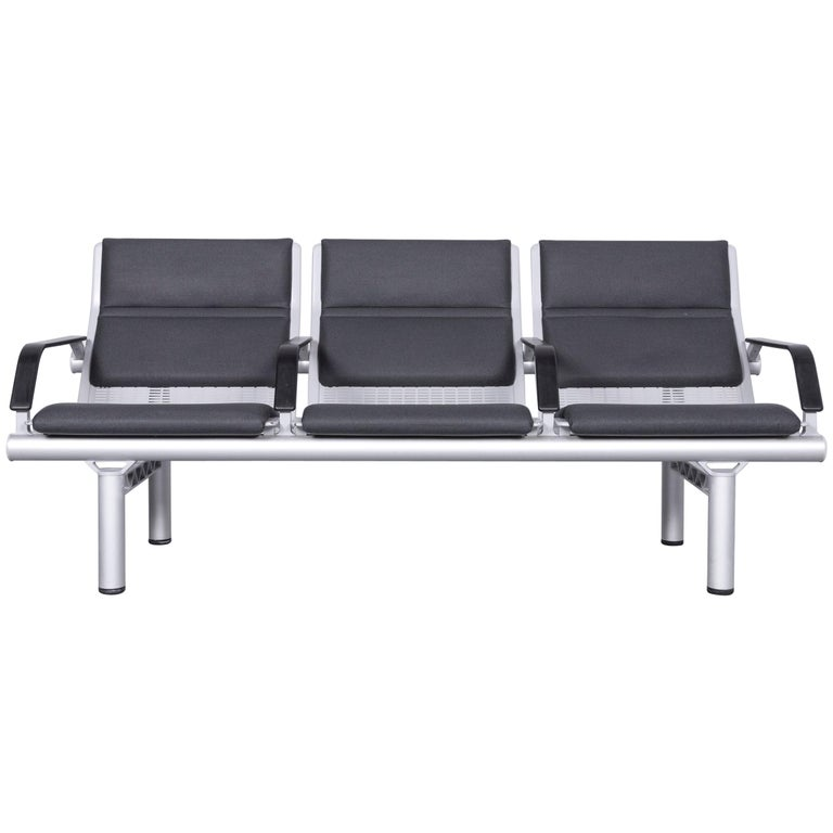 Wilkhahn Tubis Designer Fabric Sofa Three-Seat Bank Anthracite