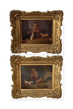 WJ Gilbert, Pair of Mid 19th Century Folk Art Paintings