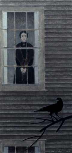 Important Modenist Oil Pastel Will Barnet Emily Dickinson Black & White
