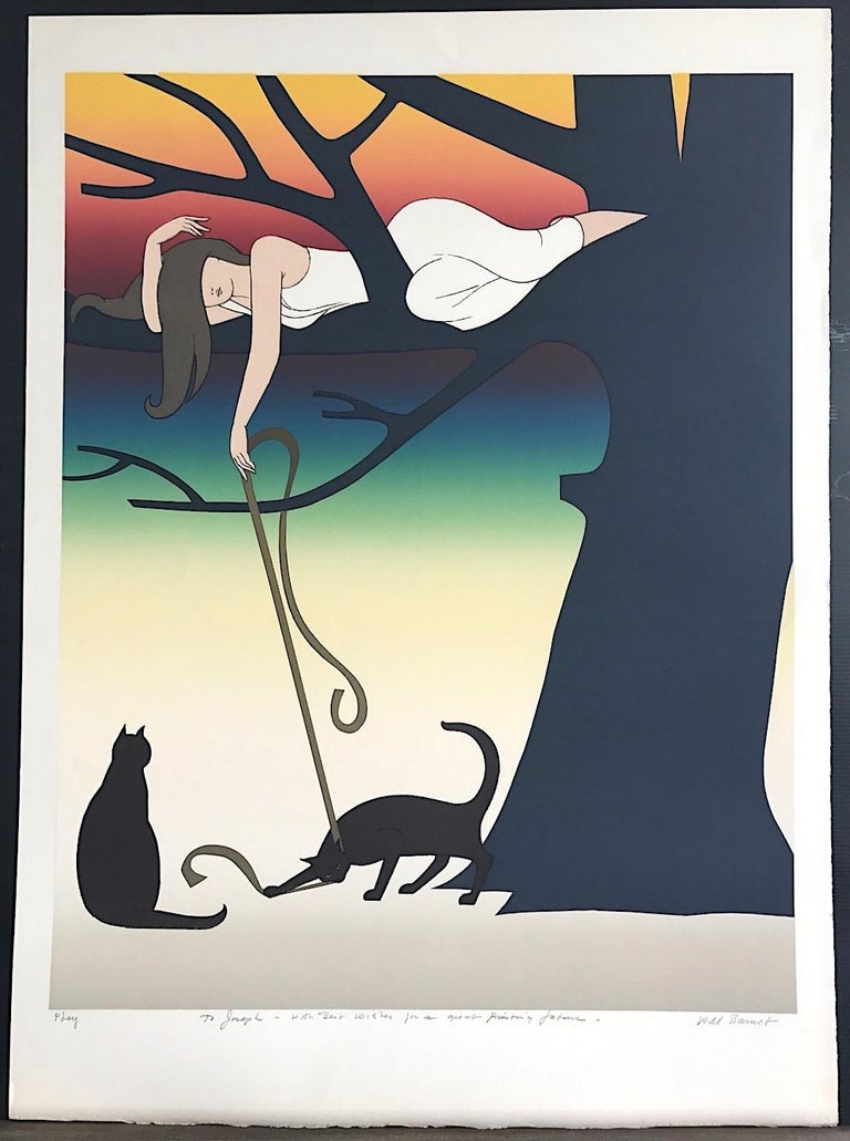 PLAY Signed Lithograph, Young Woman w Cats Portrait, Tree, Rainbow Sunset - Black Animal Print by Will Barnet