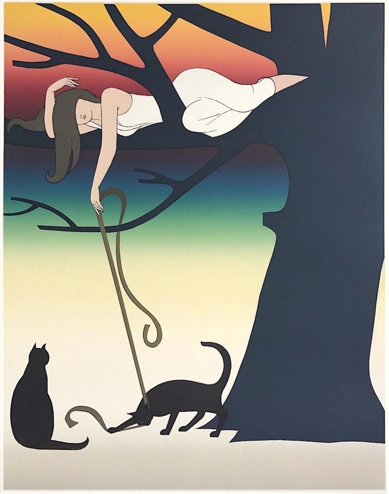 Will Barnet Animal Print - PLAY Signed Lithograph, Young Woman w Cats Portrait, Tree, Rainbow Sunset