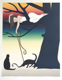 PLAY Signed Lithograph, Young Woman w Cats Portrait, Tree, Rainbow Sunset
