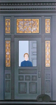 The Doorway, Hand Drawn Original Print, Victorian Stained Glass