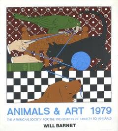 "Will Barnet-Animals & Art-38"" x 34""-Serigraph-1979-Realism-Multicolor-cat, dog"