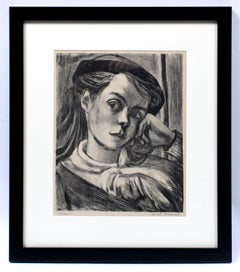 Will Barnet Early Important Figural B&W Etching American 1940 Framed Rare