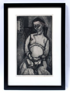 Will Barnet Early Important Figural B&W Etching American 1941 Framed Rare
