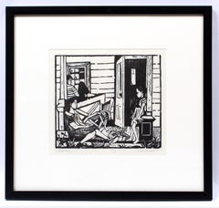 Will Barnet Early Important Figural B&W Woodblock American 1940 Framed Rare