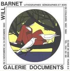 "Will Barnet-Women, the Sea and Solitude-20"" x 20""-Lithograph-1980-birds, tree"