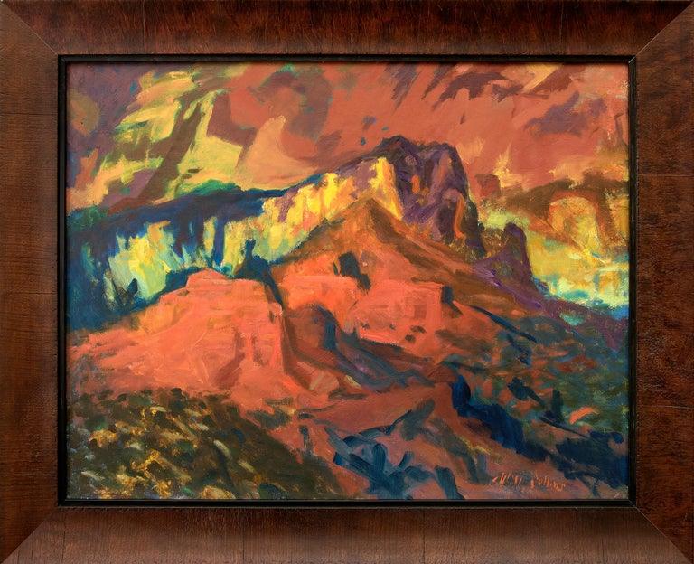 Original modernist oil painting by Will Collins (1892-1979) of Oak Creek Canyon, Arizona.  Oak Creek Canyon is a river gorge located along the Mogollon Rim in northern Arizona between the cities of Flagstaff and Sedona.  Housed in a custom hardwood