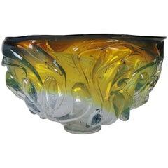 Will Dexter Signed Monumental Art Glass Drip Bowl