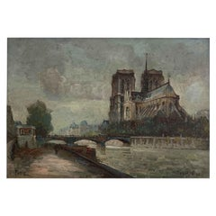 """Will Frank / Boggs Franck William """"Quay of the Seine in front of Notre-Dame"""""""