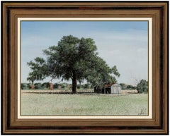 Will Hinds Original Oil Painting On Board Landscape Farm Tree Signed Framed Art