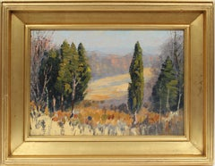 Antique American Impressionist  Fall Panoramic  Landscape Signed Oil Painting