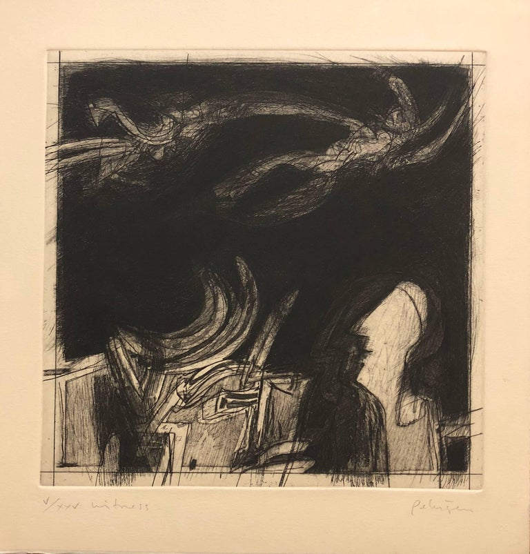"""Beat Artist """"Witness"""" Lithograph Etching Lakeside Studio Chicago"""