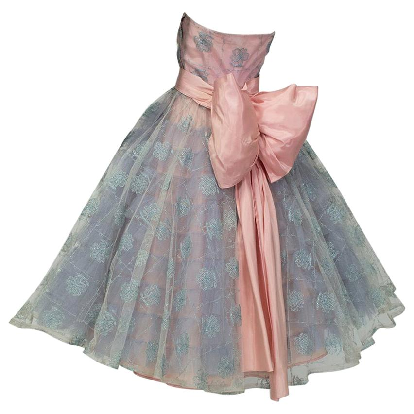 Will Steinman Pink and Blue Strapless Back Bow Party Dress - Small, 1950s